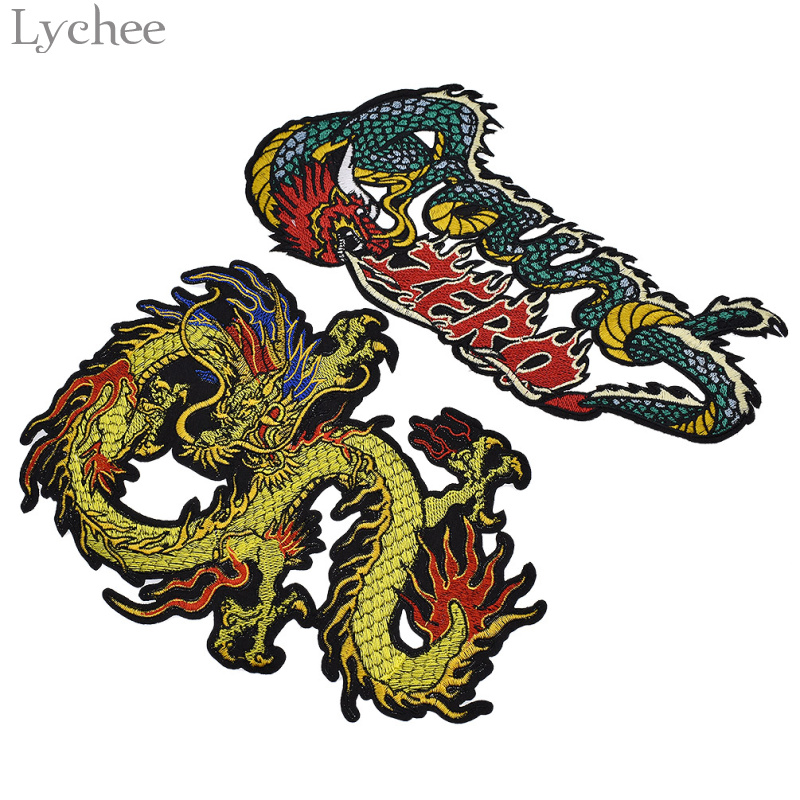 1PC~ASIAN CHINESE DRAGON~IRON ON EMBROIDERED APPLIQUE