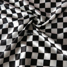Chessboard Print Satin Material Tissue Dress Scarf Cloth Fashion Black White Checked Fabric Meter