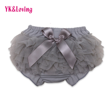 Girls Short Pants Cotton Layers Chiffon Ruffled Newborn Bloomer  PP Shorts Cute Baby  Solid Color Shorts Kids Diaper Covers