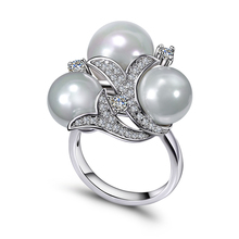 New Latest design trendy jewelry white pearl Ring wholesale dropshipping gift for women High quality crystal CZ Nice Rings(China)