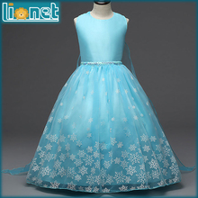 2016 Ice Blue Girls Clothes Elsa Dress Party Wedding Custom Cosplay Crew Neck Sleeveless Anna Snowflake Princess Girl Dresses