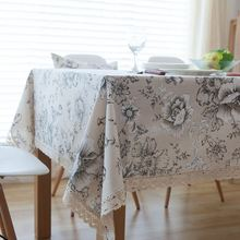 High Quality Peony Cotton Table Cloth China Style Table Covers with Lace Edge Party Kitchen Tablecloth nappe manteles  ZB-65