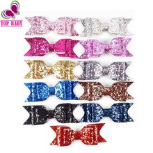 Hot Sale Boutique Layers Glitter Leather Hair Bows Barrettes Alligator Clips Girls Hair Accesories 3pcs/lot