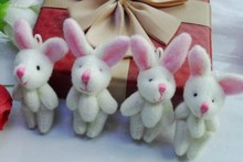 Mini 4CM Joint Long EAR Rabbit Plush Stuffed TOY DOLL Wedding Bouquet Candy BOX TOY DOLL ; Garment & Hair Accessories TOY DOLL(China)