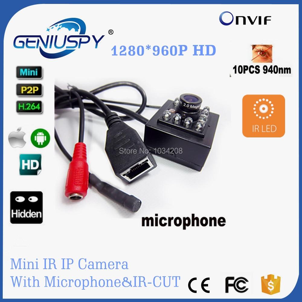 1.3MP 960P Mini IR Camera HD Night Vision P2P Plug and Play Camera Ip Network P2P Camera With IR CUT &amp;10Pcs Invisible 940nm Leds<br>