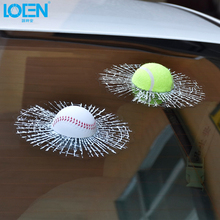 1PC 3D Funny Ball Hits Body Window Car Sticker Car Styling Baseball Basketball Tennis golf football Decal Accessories Stickers(China)
