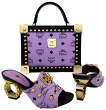 Most Popular Ladies Shoes And Bag To Match High Quality African Shoes and Bag Set In Lilac Color For Party! TBCH-22-1