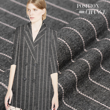 Thin striped gray wool fabric simple autumn and winter wool clothing fabric wool suit fabric wholesale wool cloth