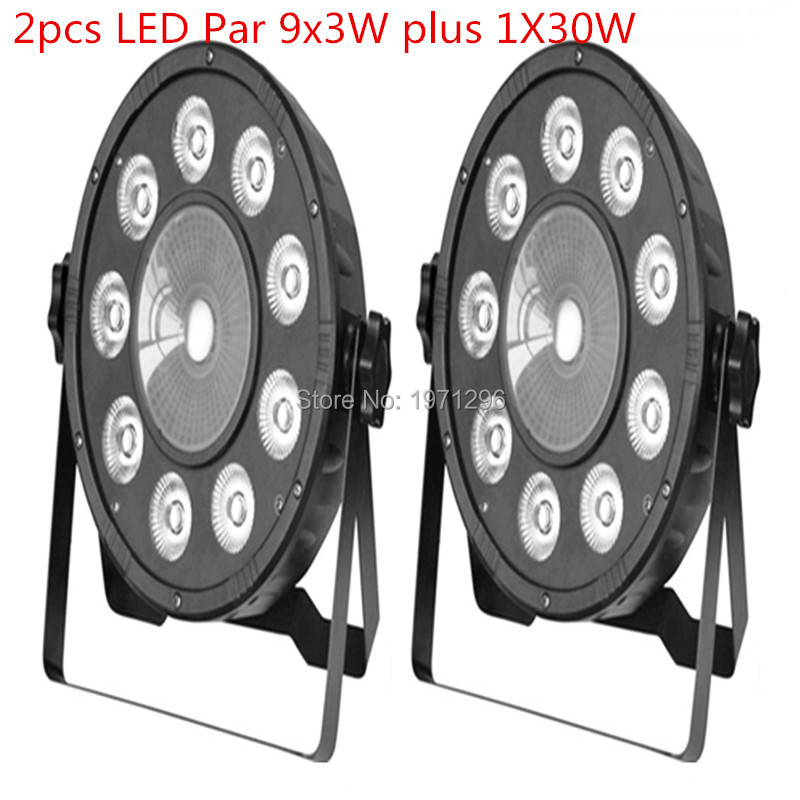 2 pieces Promotional Packaging LED Fat Par 9X10W+1X30W Led Light RGB 3IN1 LED Light Stage DJ Light DMX Led Par Par Party Lights<br>