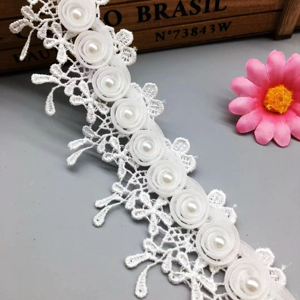 1Yard Vitage Lace Ribborn DIY Headbands Wedding Dress Applique Faux Pearl Decor