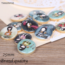 25mm Fashion girl wooden buttons two holes Natural Wooden Round Button Nautical Design Scrapbooking Sewing Accessories DIY Craft(China)