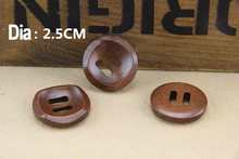 100pcs 2 square hole 25mm wood sewing buttons dark brown buttons bowl shape buttons DIY decoration free shipping MM-071