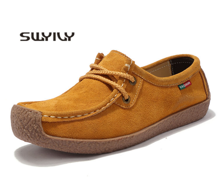 SWYIVY Women Casual Shoes Genuine Leather Female Flat Loafers Snail Shoes 2019 Spring Breathable Flats For Woman Size 42 10