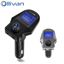 OLLIVAN Car Charger LED Display Screen 2 USB Car-Charger For iPhone 8 7S plus With Bluetooth Voltage Monitoring for Xiaomi Meizu(China)