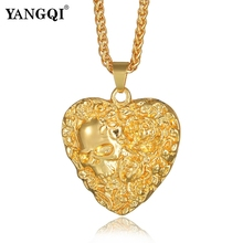 YANGQI Hip Hop Gold Color Skull Heart Necklace Women Men Bling Bling Personalized Heart Pendant Necklace Ice Out Jewelry