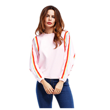 Women's Colorful Strips New Short Sweatshirts Spring Autumn Tops Ladies Warm Puff Long Sleeve Casual Stripe Pullover(China)