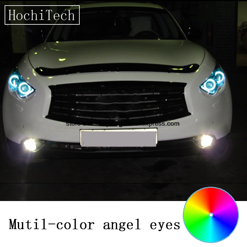HochiTech For Infiniti FX QX70 FX35 FX37 FX50 09-13 car styling RGB LED Demon Angel Eyes Kit Halo Ring Day Light  remote control<br>