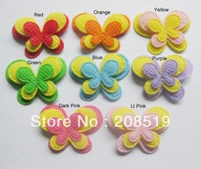 PA0001 butterfly applique 200pcs mixed colors 3.2cm*2.5cm 3-layer padded felt applique DIY ornament accessory