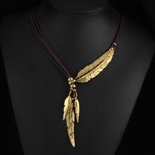 17KM 2016 4 Color Brand New Big Luxury Statement Pendant Choker Necklace Vintage Maxi Rope Chain Feather Women Accessories