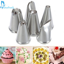OnnPnnQ 6 PCS DIY Stainless Steel Icing Piping Nozzles Pastry Tips Fondant Cup Cake Baking Free Shipping