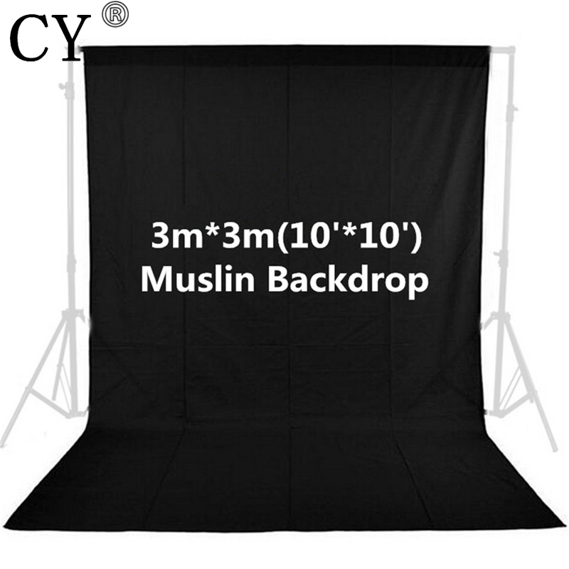 CY Photo Studio 100% Cotton Black 3m x 3m/10ft x 10ft Solid Muslin Backdrop Photography Backgrounds Backdrops<br>