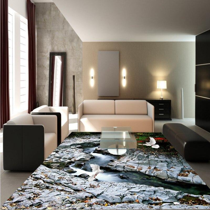 Free Shipping 3D granite tidal flooring painting bedroom balcony decorative self-adhesive floor mural<br>
