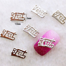 "10Pcs/Lot 6*10mm  Silver Letter ""BFAT""  Metal Alloy Nail Art Decorations 3D DIY Nail Stickers Jewelry Nail Charms"