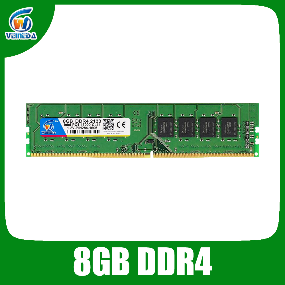 VEINEDA pc ram ddr4 4g 8gb 2133 2400Mhz 1.2v 284pin PC4-17000 dual channel motherboard ddr 4 dimm memory
