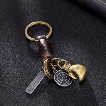 Genuine leather brass metal boxing gloves pendant keychain brand for motorcycle car key holder cover ring chain accessories(China)