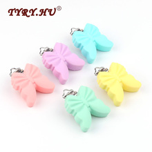 TYRY.HU 3Pcs Butterfly Shaped Silicone Pacifier Clip Pacifier Chain Stainless Steel Clips BPA Free Silicone Baby Teething Toys(China)