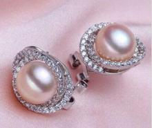 free shipping luxury Noble jewelry charming a pair 10-11mm AAA++ south sea gold pink pearl stud earrings