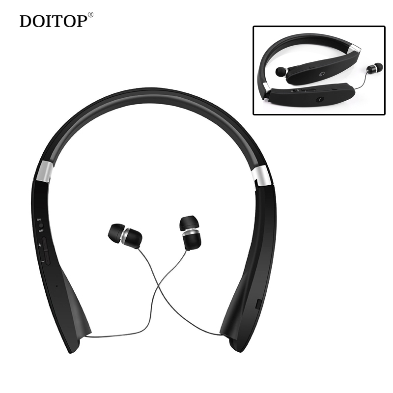 DOITOP Sport Running Wireless Bluetooth Headphone Foldable Neckband Earphone Hifi Stereo Music MP3 Headset Anti-lost Earbuds A3<br>