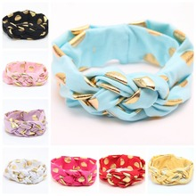 10pcs/lot Gold Polka Dot Knot Headband, Turban Braid Headband