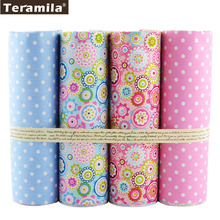 4PCS/lot 40cmx50cm Floral Dots Teramila Cotton Fabric Fat Quarter Bundle Quilting Patchwork Sewing Clothe Bedding Tissus Tilda