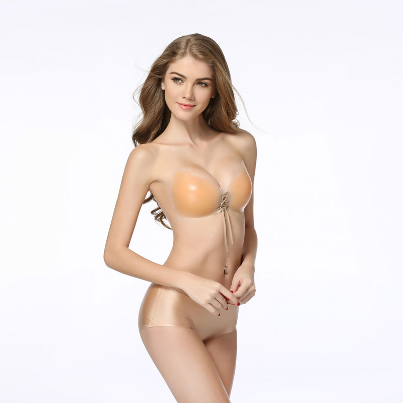 Women Fly Bra Sexy Invisible Bra Self-Adhesive Strapless Silicone Form Enhancer Push Up Bra for Bridal Veil Dress 6