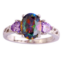 lingmei Noble Rainbow CZ Purple  Silver Color Ring Women Jewelry Finger Rings Size 6 7 8 9 10 11 12 Free Shipping Wholesale