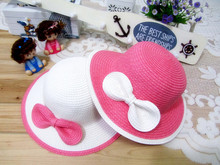 2017 New Summer Beach Red White Pink Bow Knot Large Brimmed Straw Hat For Children Girls Princess Sun Hats(China)