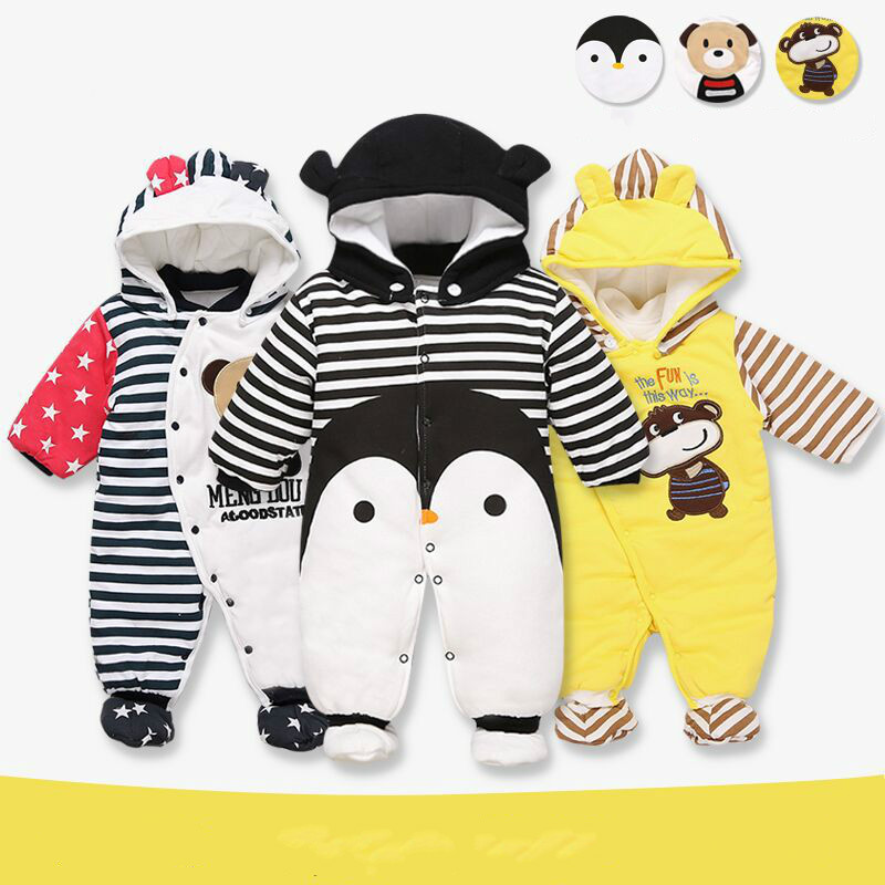 Cute Character Animal Style For Winter Baby Rompers Cotton Thick Hooded Warm Baby Clothings Infant Babies Outerwears<br><br>Aliexpress