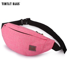 TINYAT Women Female Casual functional Fanny Bag Waist Bag pack messenger bag Mobile Phone belt bag T201 Pink Pouch