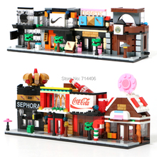 Bricks city building blocks mini street view toy 4set/lot,coffee cosmetics Applee Store blocks models,for kid funny toy gift(China)