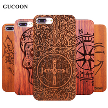 Retro Plastic+Wood Skull Case for iPhone 7 7 Plus Novelty Vintage Case Cover for iPhone 6S Plus 5 5S SE 8 8Plus X Cool Shield(China)