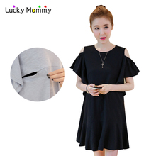 Fashion Mini Nursing Dress Cotton Maternity Clothes 2017 Summer Pregnancy Clothing for Pregnant Women Brastfeeding Dress