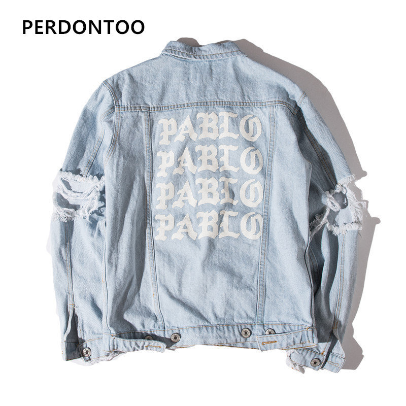 2019 Newest TOP Oversized Jacket I FEEL LIKE PABLO Denim Coats Hiphop Broken Hole Jean Jacket