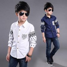 Boys dress Shirt 2017 NEW Spring Hot Selling Soft Fashion Children Clothing Print Navy style Long sleeve Boy Blouses Formal