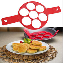 Fantastic Non Stick Pancake Pan Flip 7 holes Fried Egg Mold Breakfast Maker Omelette Silicone Pancakes Mold Pastry Cooking Tools(China)