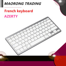 MAORONG TRADING Mini Bluetooth French Keyboard for mac/ipad /iphone /ipad mini silver models compatible with Windows Android(China)