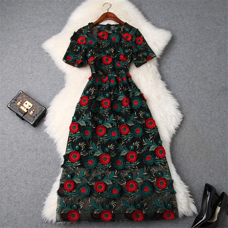 Top Quality Runway Designer Woman Dress 2019 Spring Summer Style Fashion Short Sleeve Flower Embroidery Sexy Party Tulle Dress