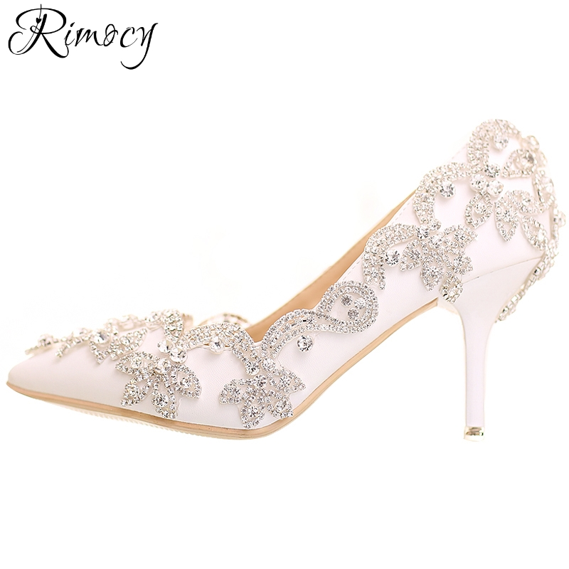 Rimocy womens crystal wedding shoes 2018 new brand design handmade high heels platform rhinestone pumps woman sexy party shoes<br>
