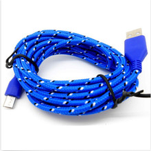 1M Blue Braided Fabric Mini USB Data Sync Charger Cord Cable For Universal Cell Phone Digital Wire 1pc(China)