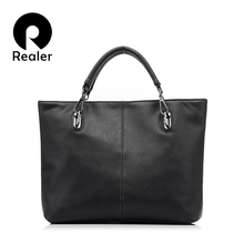 2016 new Realer brand design fashion brown PU leather women tote women shoulder bag messenger bag